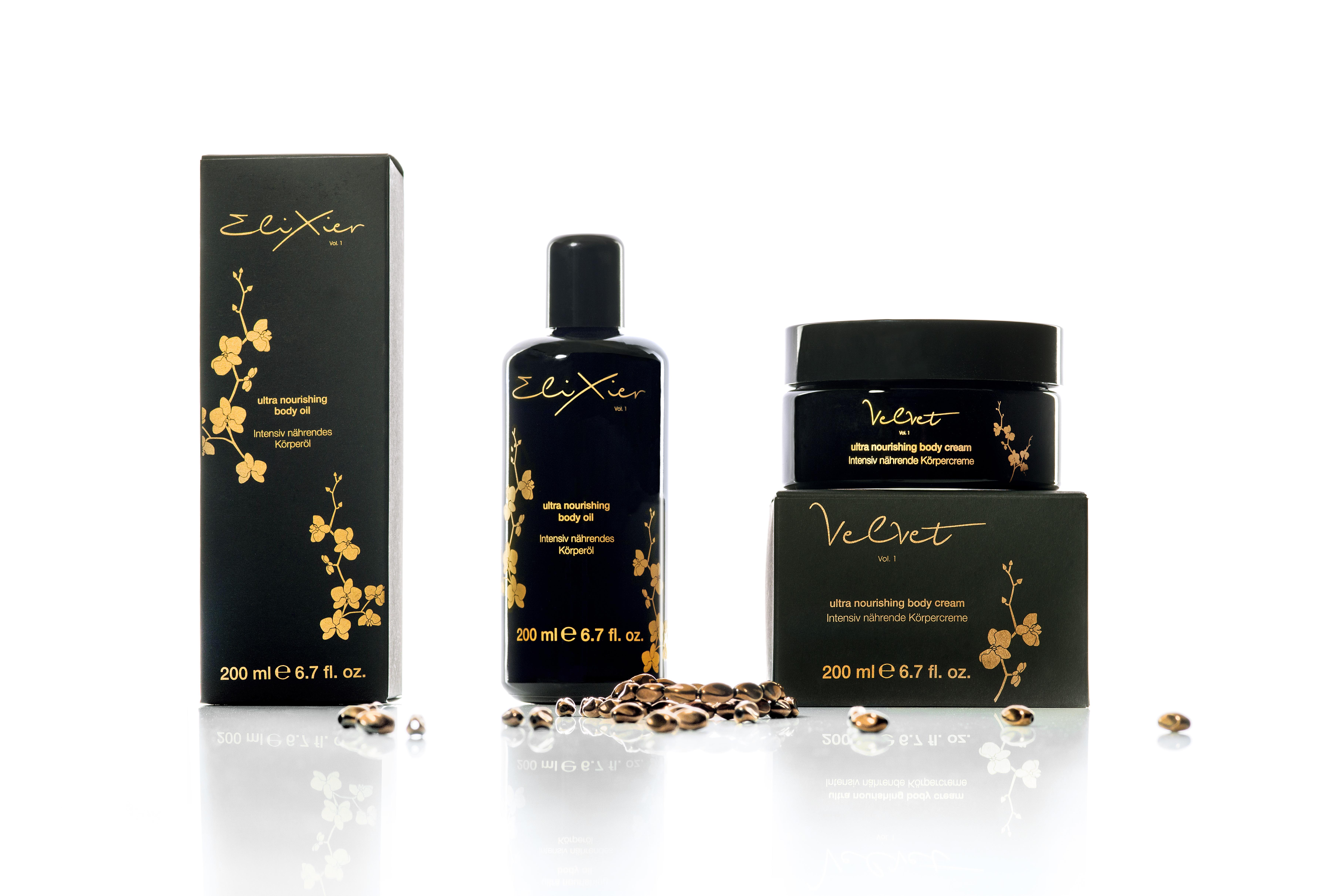 Hautpflegeprodukt für Körper - Öl - Creme - Hautpflegeprodukte Marken wie Elixier und Velvet